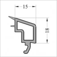 Штапик 15 мм 6м фигурный, серое уплотнение